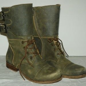 Matisse Green Suede Leather Lance Combat Boots